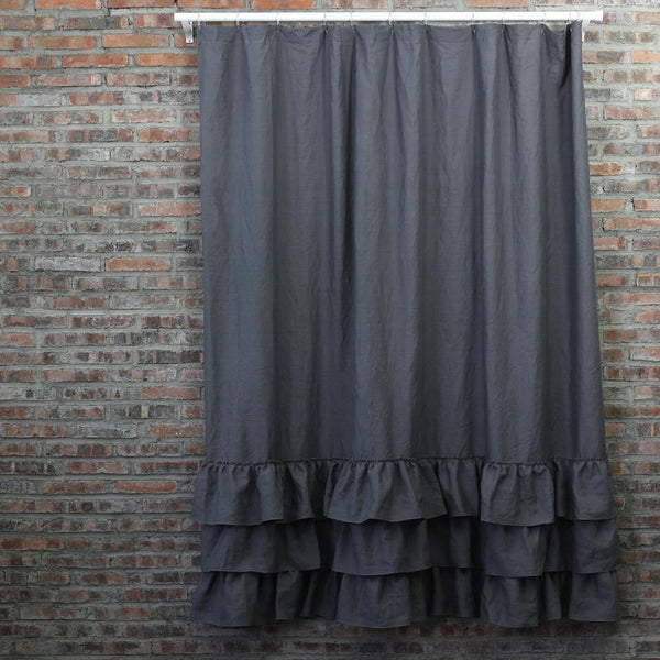 Ruffles Linen Shower Curtain - linenshed.au - 1