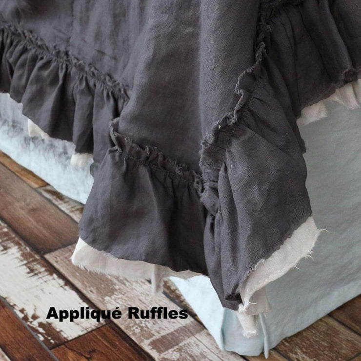 Two Tones Frayed Ruffle Bedspread - linenshed.au - 6