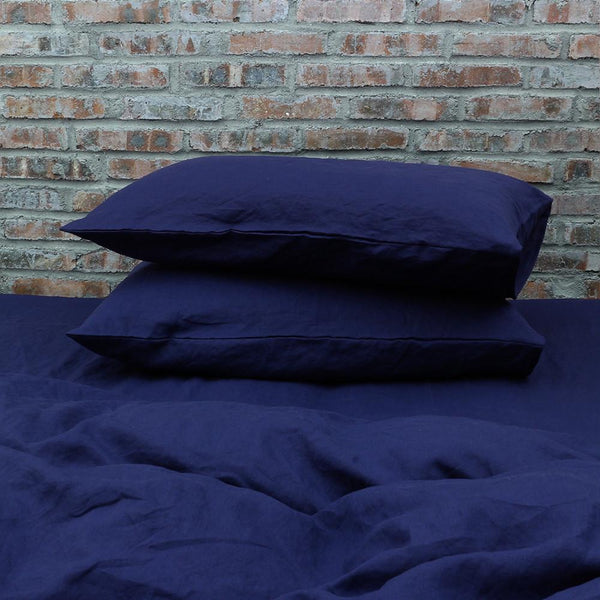 Housewife Linen Pillowcases Indigo Blue (set of 2) - linenshed.au - 1