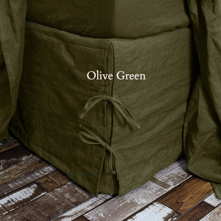 Linen Knotted Bed Skirt Green Olive