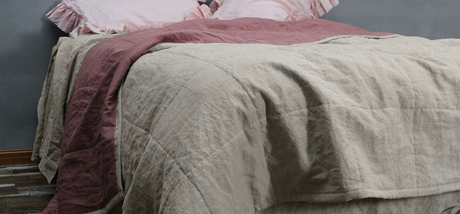 Two Tones Quilted Bedspread
