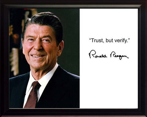 "Ronald Reagan ""Trust but verify"" Quote Autograph 8x10 Framed Photo"