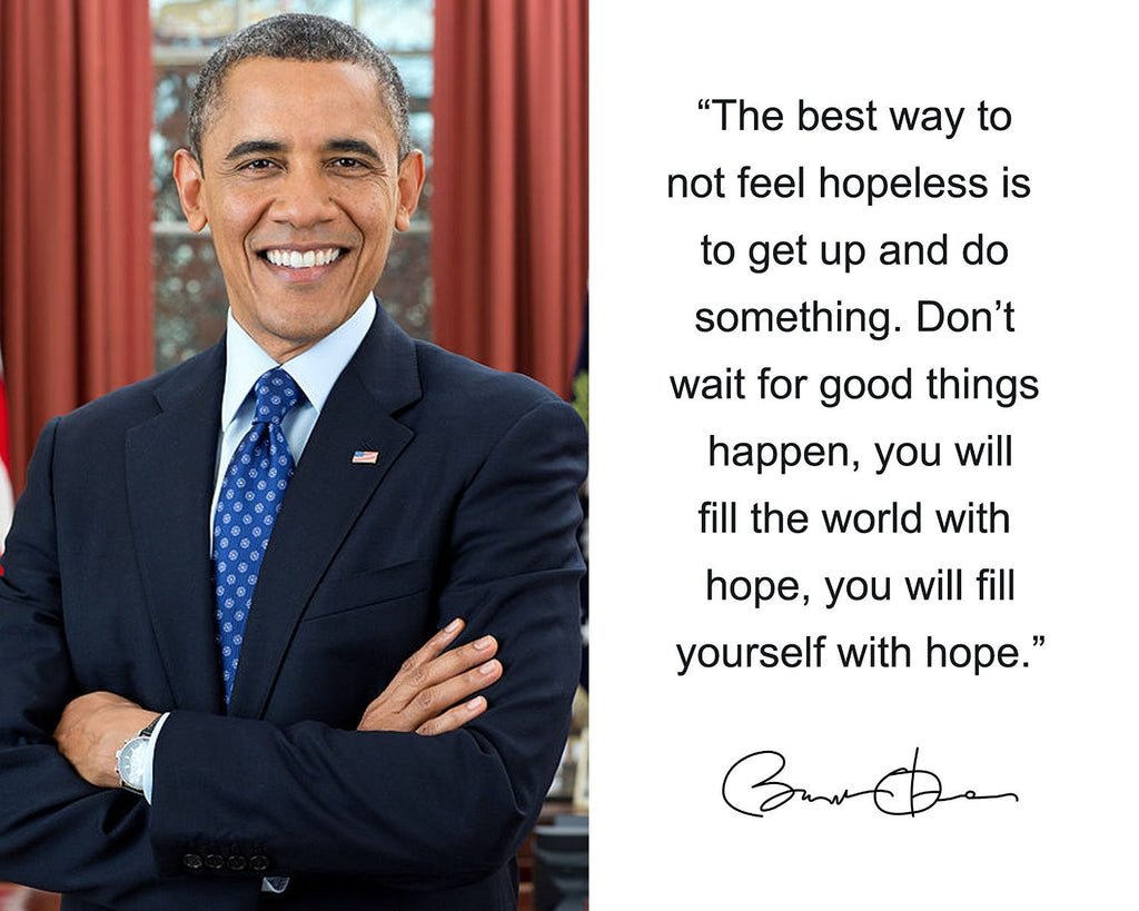"Barack Obama ""The best way"" Quote Autograph 8x10 Photo"