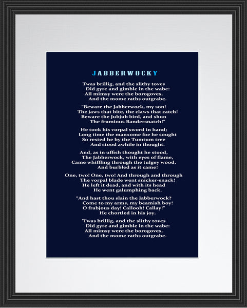 Lewis Carroll Jabberwocky Poster, Print, Picture or Framed Photograph