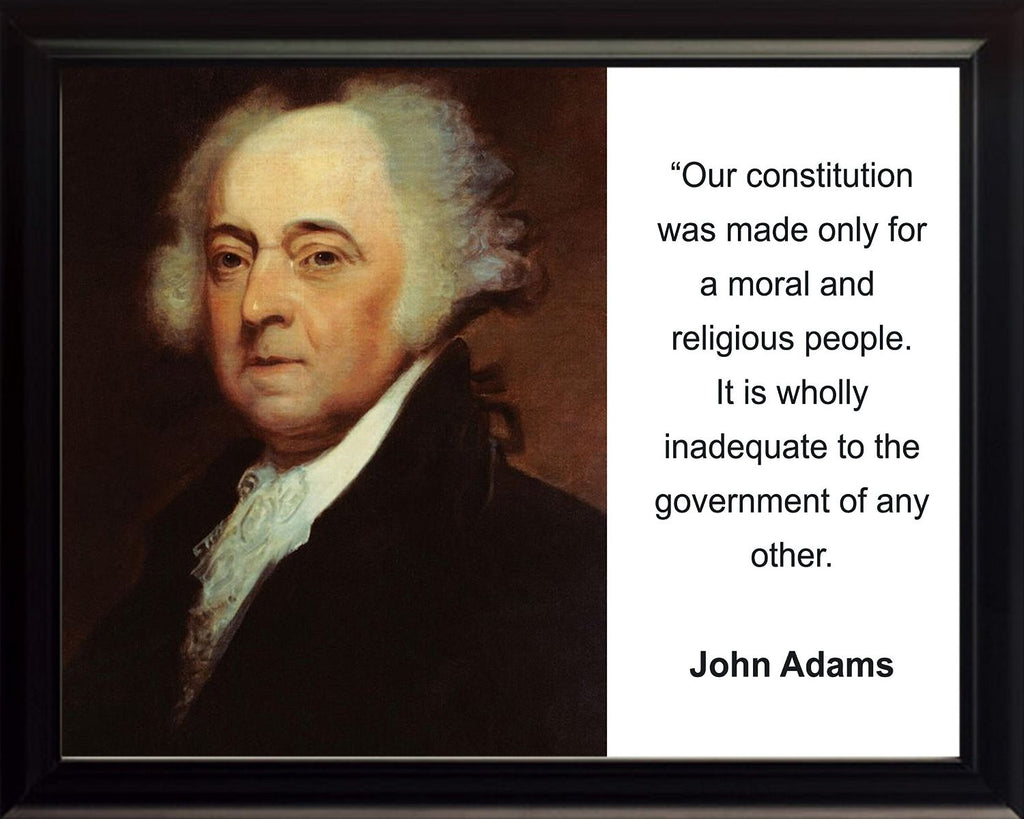 "John Adams ""Our Constitution was made only"" Quote 8x10 Framed Photo by WeSellPhotos"