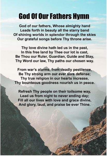 God Of Our Fathers Hymn Poster, Print, Picture or Framed Photograph