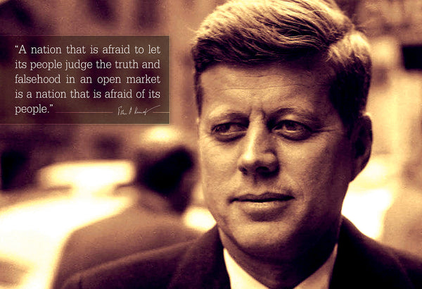 "John F. Kennedy ""JFK"" - Photo, Picture, Poster or Framed Famous Quote ""A nation that is afraid"""