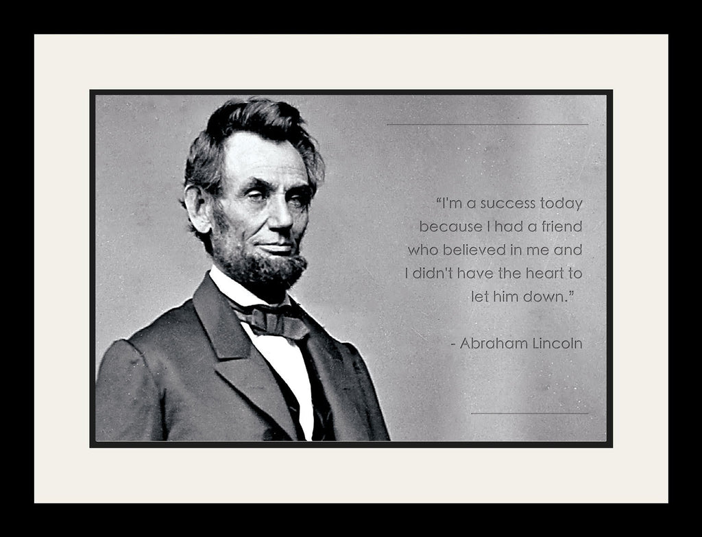 "Abraham Lincoln /"" if we falter/"" Autograph Famous Quote Framed Photo Photograph"