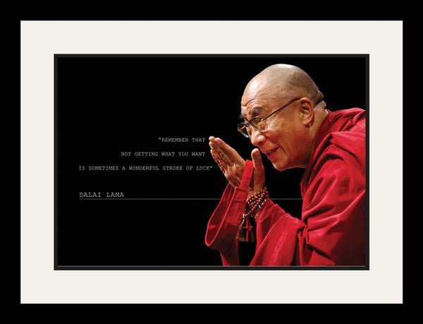"Dalai Lama - Photo, Picture, Poster or Framed Famous Quote ""A wonderful stroke of luck"""