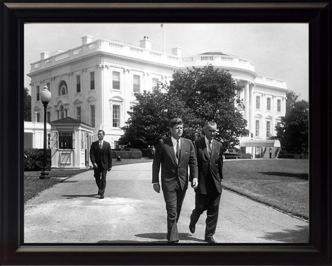 President John F. Kennedy JKF and President Lyndon Johnson Framed 8x10 Photograph