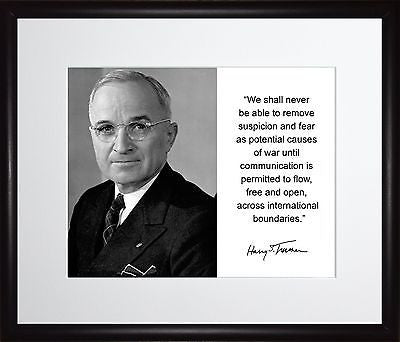 Harry S. Truman We shall never Autograph 11x13 Framed Photo Matted To 8x10