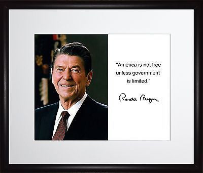 Ronald Reagan America is not free Autograph 11x13 Framed Photo Matted To 8x10