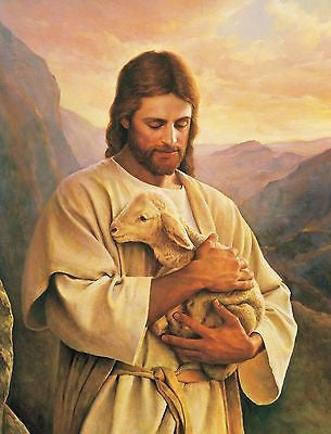 Jesus Carrying a Lost Lamb 8x10 Photograph Christian Art