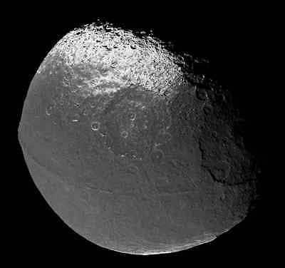 Iapetus Moon, Solar System, Outer Space, NASA 8 x 10 Photo Picture