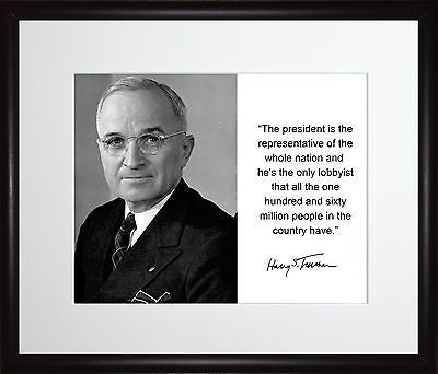Harry S. Truman The president Autograph 11x13 Framed Photo Matted To 8x10