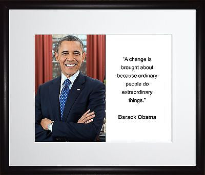 Barack Obama A change is brought 11x13 Framed Photo Matted To 8x10