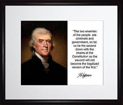 Thomas Jefferson The two enemies Autograph 11x13 Framed Photo Matted To 8x10
