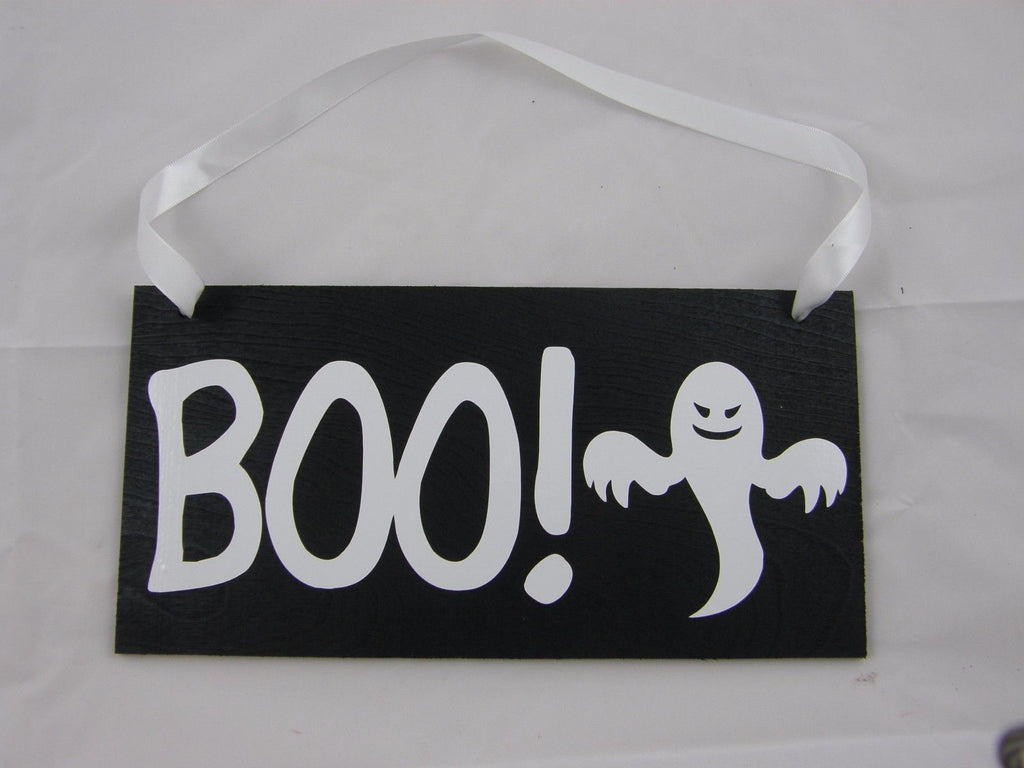 Halloween Wood Sign Door Hanger Wall Hanger Boo With Ghost