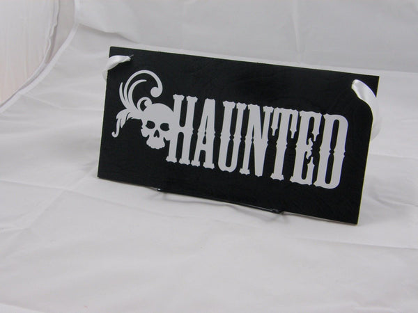 "Halloween Wood Sign Door Hanger Wall Hanger ""Haunted"""