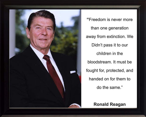 "Ronald Reagan ""Freedom is never"" Quote 8x10 Framed Photo"
