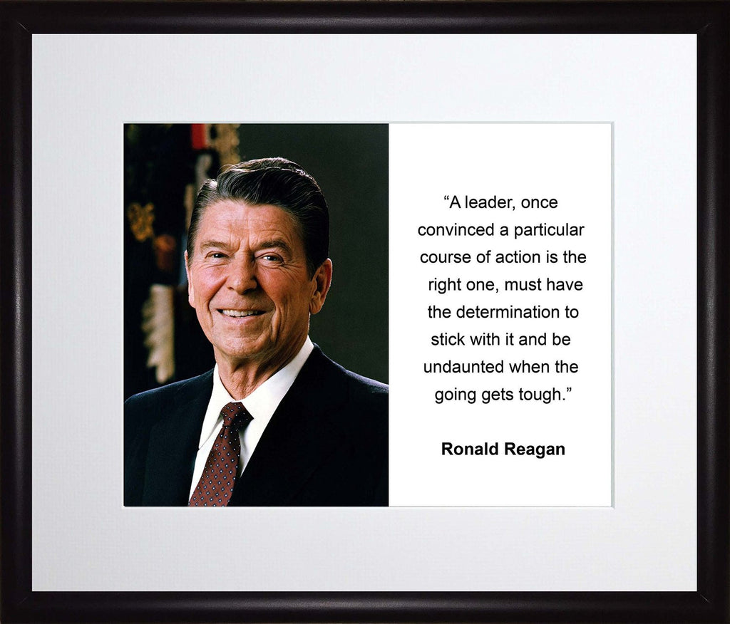 Ronald Reagan a Leader Once Convinced Quote 11x13 Matted to 8x10 Framed Picture