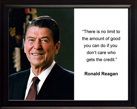 "Ronald Reagan ""There is no limit"" Quote 8x10 Framed Photo"