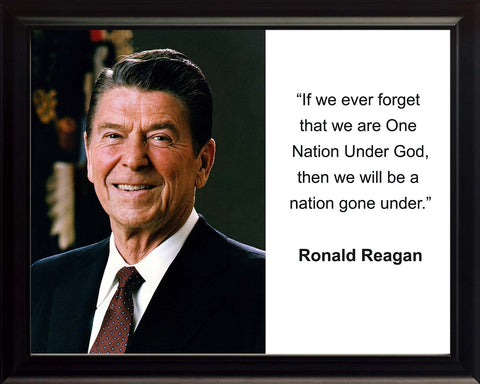 "Ronald Reagan ""If we ever forget"" Quote 8x10 Framed Photo"