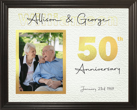 50th Anniversary Gifts, 50th Wedding Anniversary Gifts for Parents, Golden Anniversary, Personalized 11x14 Framed Print