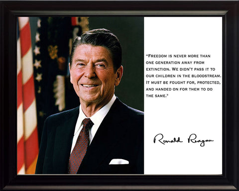 Ronald Reagan President Freedom Quote 8x10 Framed Photograph