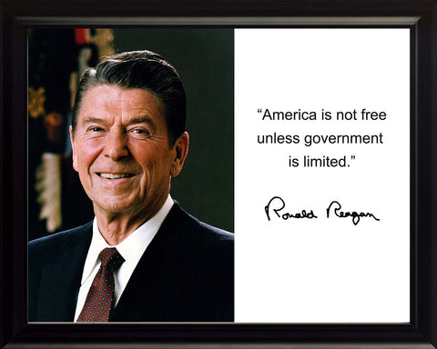 "Ronald Reagan ""America is not free"" Quote Autograph 8x10 Framed Photo"