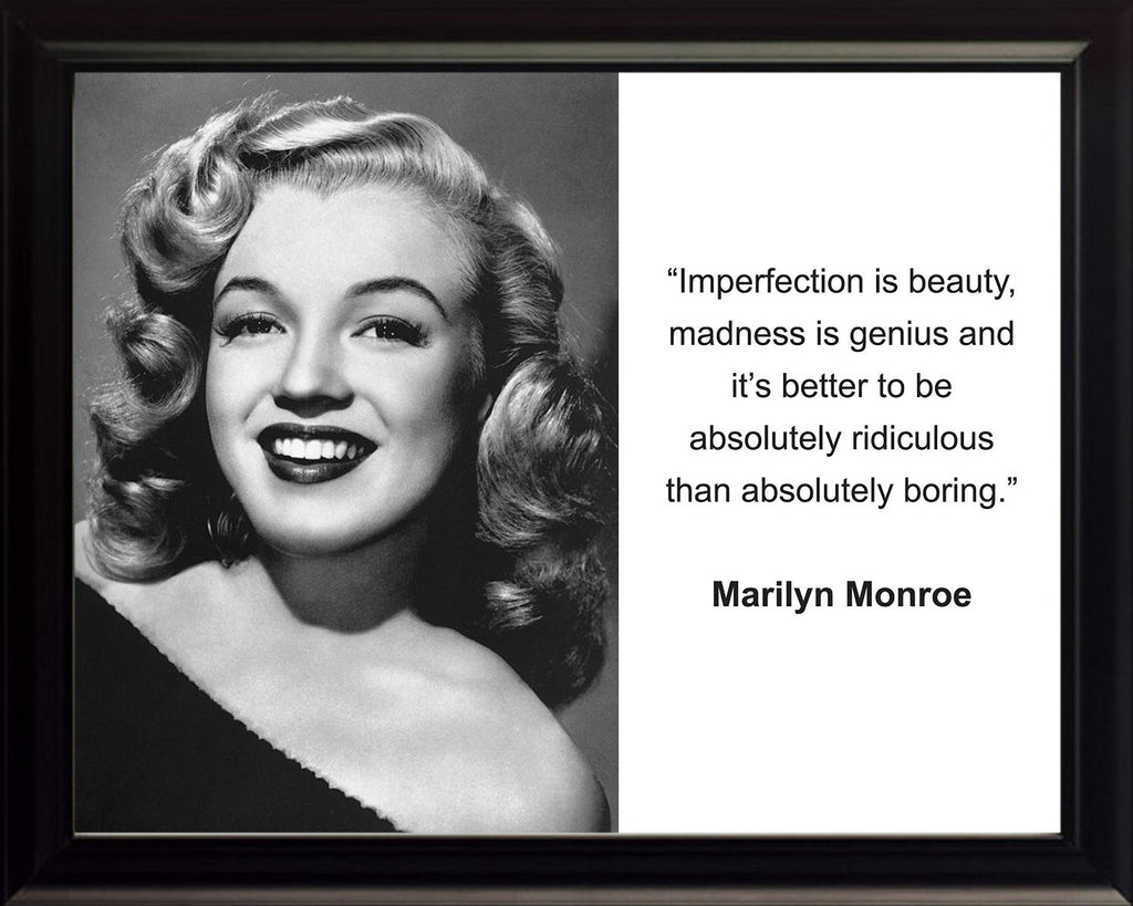 "Marilyn Monroe ""Imperfection Is Beauty"" Framed 8x10 Quote Photo"