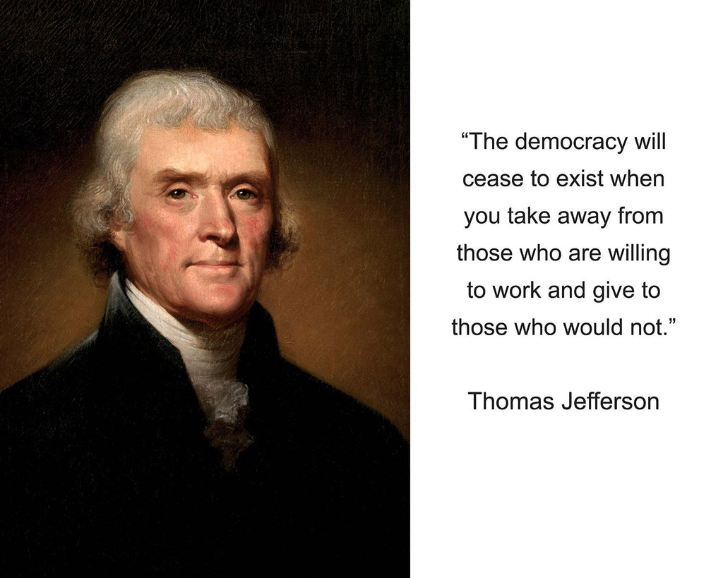 "Thomas Jefferson ""The democracy will cease"" Quote 8x10 Photo"