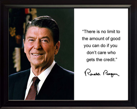 "Ronald Reagan ""There is no limit"" Quote Autograph 8x10 Framed Photo"