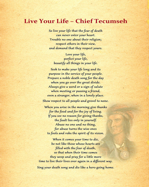 Chief Tecumseh Live Your Life Poster, Print, Picture or Framed Photograph