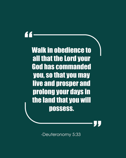 Deuteronomy 5:33 Walk In Obedience Poster, Print, Picture or Framed Photograph