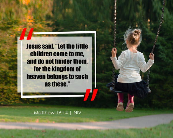 Matthew 19:14 Jesus Said Let Poster, Print, Picture or Framed Photograph