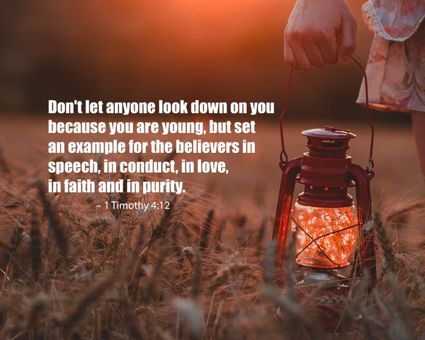 1 Timothy 4:12 Don't Let Anyone Poster, Print, Picture or Framed Photograph
