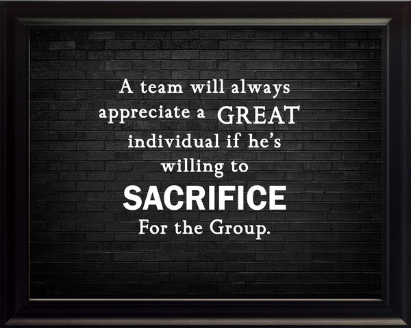 A Team Will Sportsmanship Poster, Print, Picture or Framed Photograph