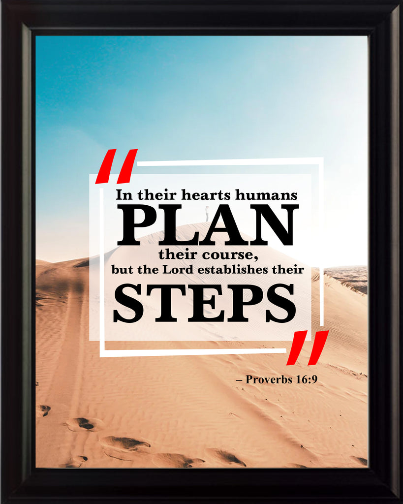 Proverbs 16:9 In Their Hearts Poster, Print, Picture or Framed Photograph