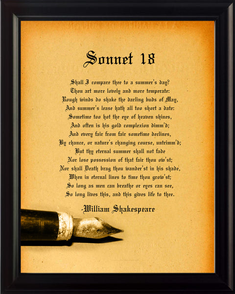 William Shakespeare Sonnet 18 Poster, Print, Picture or Framed Photograph