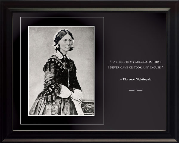 "Florence Nightingale - Photo, Picture, Poster or Framed Famous Quote ""I attribute my success to this"""