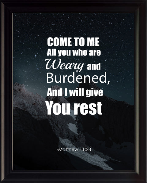 Matthew 11:28 Come To Me Poster, Print, Picture or Framed Photograph