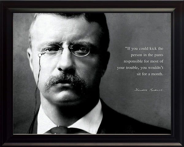 "Theodore Teddy Roosevelt - Photo, Picture, Poster or Framed Famous Quote ""If you could kick the person"""