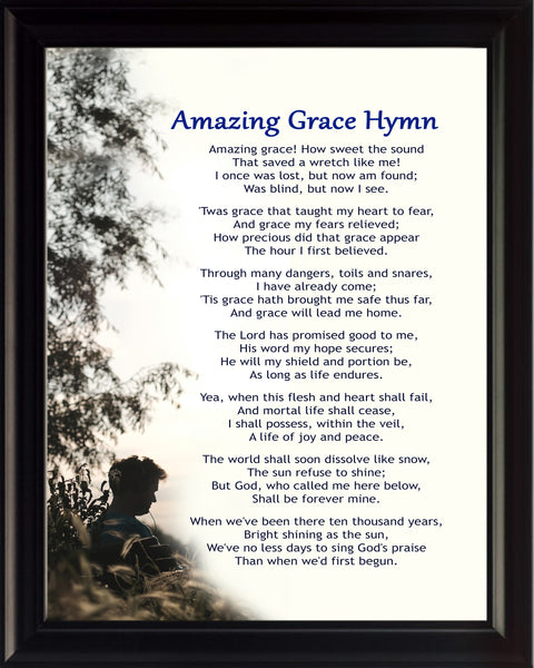 Amazing Grace Hymn Poster, Print, Picture or Framed Photograph