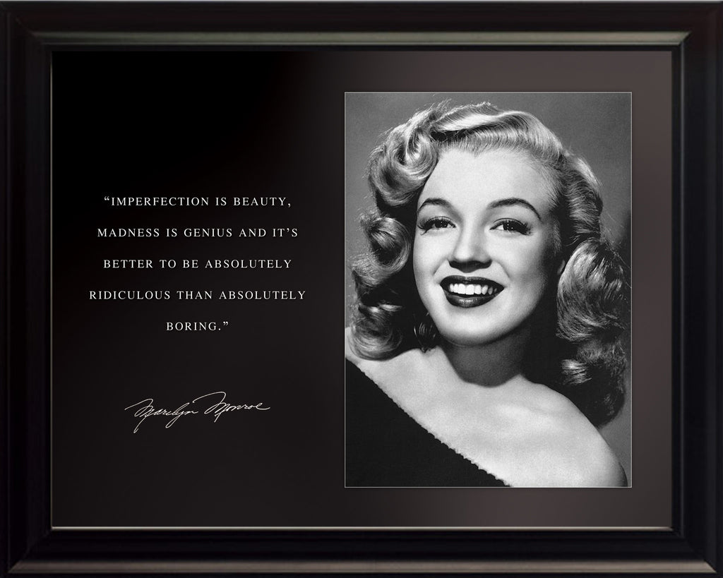 "Marilyn Monroe - Photo, Picture, Poster or Framed Famous Quote ""Imperfection is beauty"""