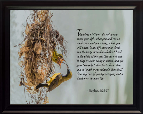 Matthew 6:25-27 Therefore I Tell Poster, Print, Picture or Framed Photograph