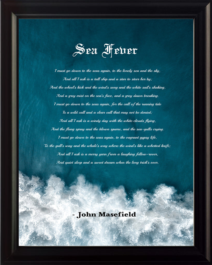 John Masefield Sea Fever Poster, Print, Picture or Framed Photograph