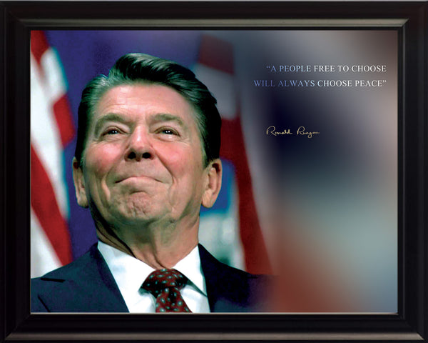 "Ronald Reagan - Photo, Picture, Poster or Framed Famous Quote ""A people free to choose"""