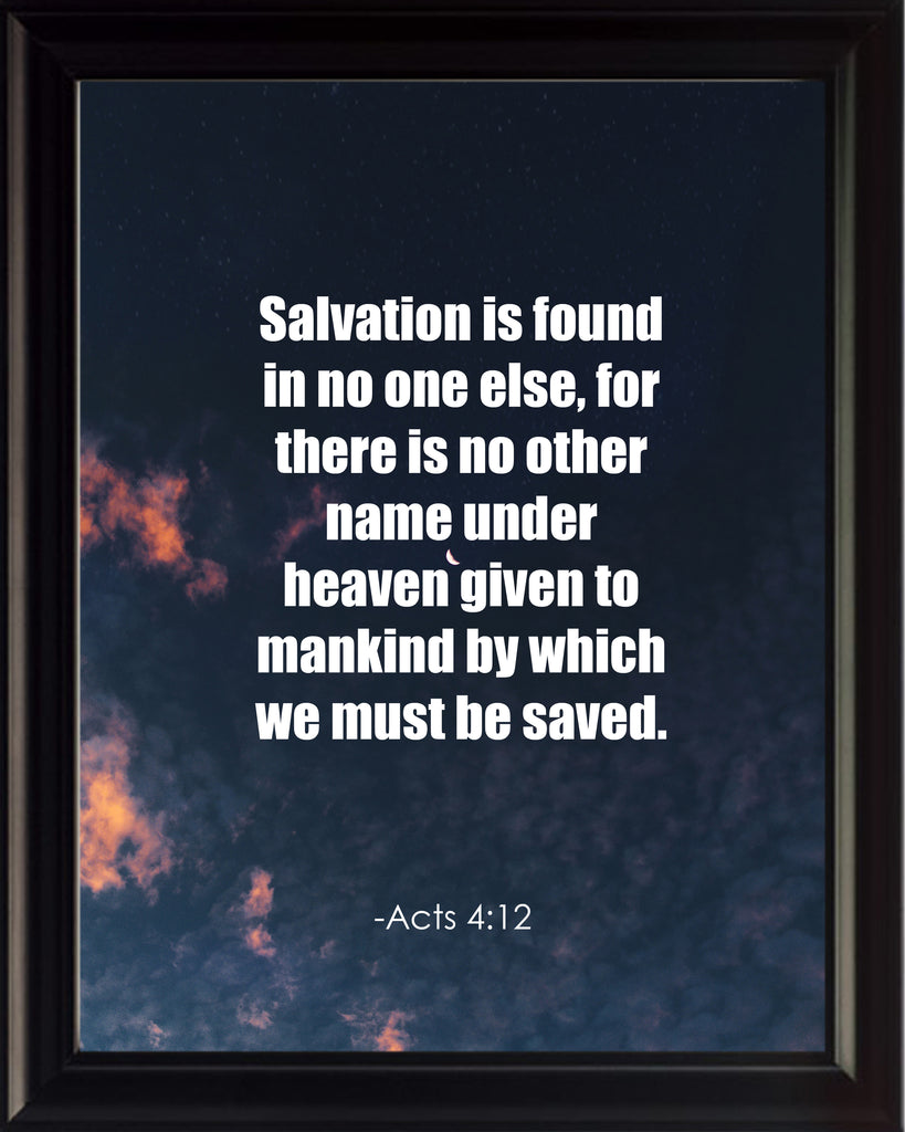 Acts 4:12 Salvation Is Found Poster, Print, Picture or Framed Photograph