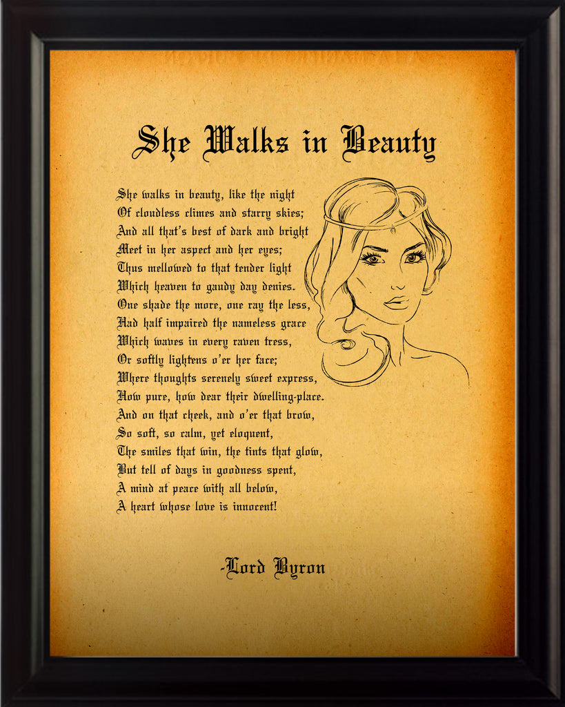 Lord Byron She Walks In Poster, Print, Picture or Framed Photograph